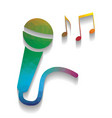 microphone sign with music notes colorful vector image