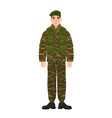 military man or serviceman dressed in army vector image vector image