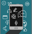 Modern smartphone with media icons vector image vector image