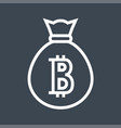 money bag with bitcoin thin line icon vector image