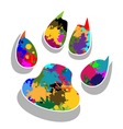 Paw prints colorful vector image vector image