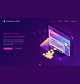 pay per click advertising isometric landing page vector image