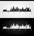 prague skyline and landmarks silhouette vector image