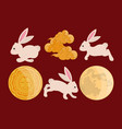 rabbits and moons mid autumn vector image vector image