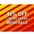 Red striped sale poster with LIMITED OFFER MEGA vector image vector image