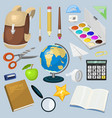 school supplies stationary educational backpack vector image vector image