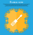 screwdriver icon Floral flat design on a blue vector image vector image