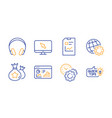 seo statistics loyalty points and globe icons set vector image vector image