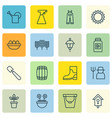 set of 16 plant icons includes flowerpot vector image