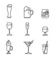 set outline alcohol icons vector image vector image