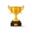 stand with golden 3d trophy realistic winner cup vector image vector image