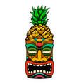 tiki tribal wooden mask design element for logo vector image vector image