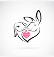 two rabbit head design and heart on white vector image