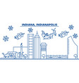 usa indiana indianapolis winter city skyline vector image vector image