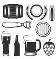Vintage beer icons symbols set vector image