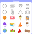 Learning the shapes with object for kids vector image