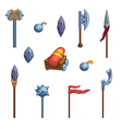 Medieval cartoon weapons Game icons vector image