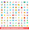 100 business workshop icons set cartoon style vector image vector image