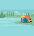 a young couple tourists sets up tent vector image