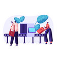 airport security conveyor belt scanner terminal vector image vector image