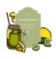 badge design with colored lemons smothie jars vector image vector image