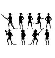 black silhouette set adult male firefighter vector image vector image