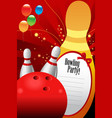 bowling party invitation template vector image vector image