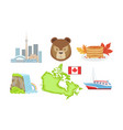 canada traditional symbols and attractions set vector image
