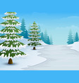 cartoon of winter landscape with snowy ground and vector image