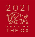 chinese new year 2021 ox bull geometric polygonal vector image