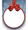 Christmas background with bow and snow vector image vector image