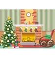 Christmas livingroom flat interior vector image vector image