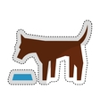cute dog mascot eating isolated icon vector image vector image