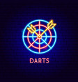 darts neon label vector image