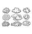 doodle clouds sketch set vector image