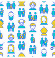 family seamless pattern with thin line icons vector image