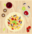 farfalle pasta with mussels vector image vector image