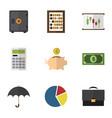 flat icon gain set of graph diagram parasol and vector image vector image