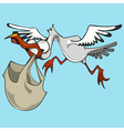 Funny cartoon bird stork carries a bag vector image vector image