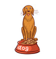 hand drawn of dog with bowl and lettering vector image