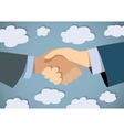 Handshake businessman hand color flat and sky vector image