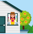 happy girl in house window potted flower and tree vector image