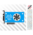iota video gpu card flat icon with bonus vector image vector image