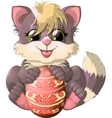 Kitten and easter egg vector image vector image