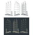 large modern sailing ship vector image vector image