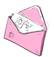 Letter and photos in envelope cartoon icon vector image vector image