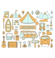 Line icons set of camping vector image