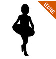 little girl silhouette with lifebuoy vector image