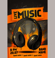 live electro music party poster with headphones vector image vector image