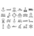 marine port transport icons set outline style vector image